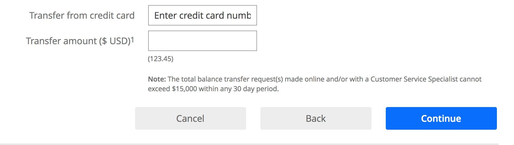 A screen shot of a credit card balance transfer option.