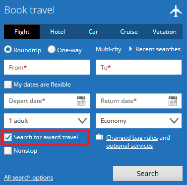 "searching for travel with ""award travel"" filter selected"
