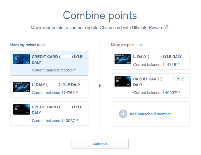"chase ultimate rewards website ""combine points"" screen"