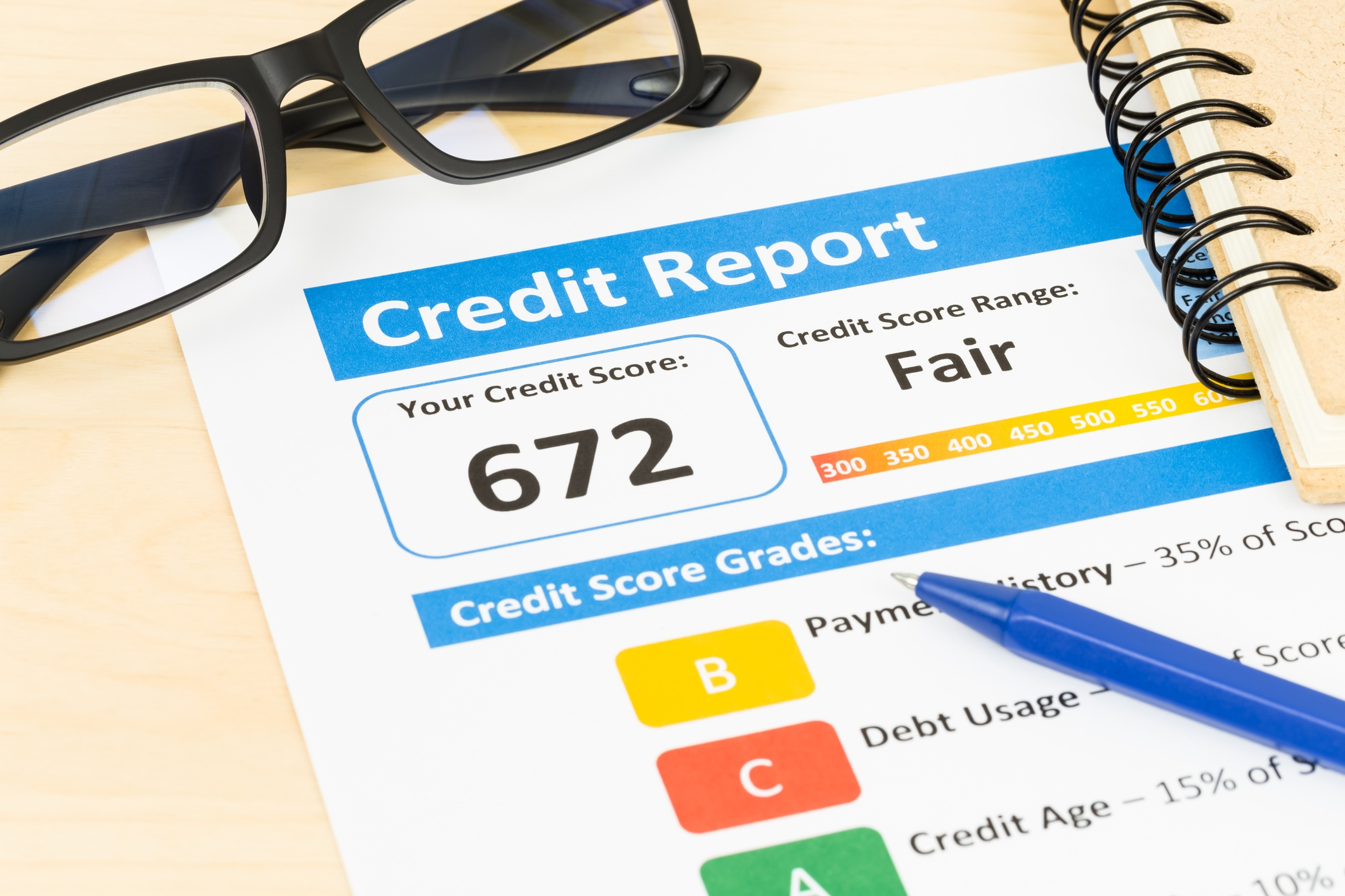 "credit report showing 672 credit score and ""fair"" range"