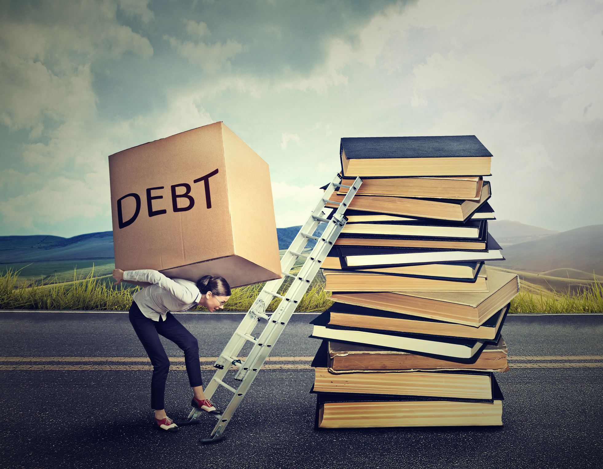 Woman trying to climb a ladder up a stack of books with a giant box labeled debt on her back.