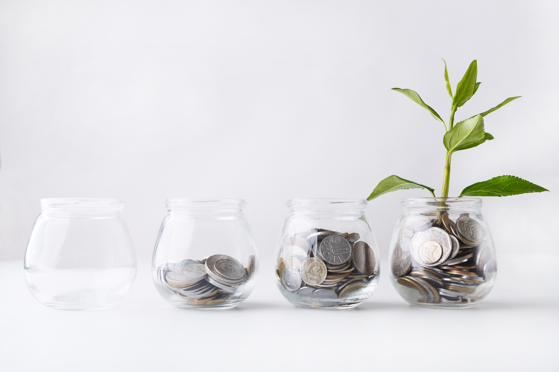 A row of glass jars with the first being empty and the others increasingly full of coins and the final one has a plant sprouting from it.