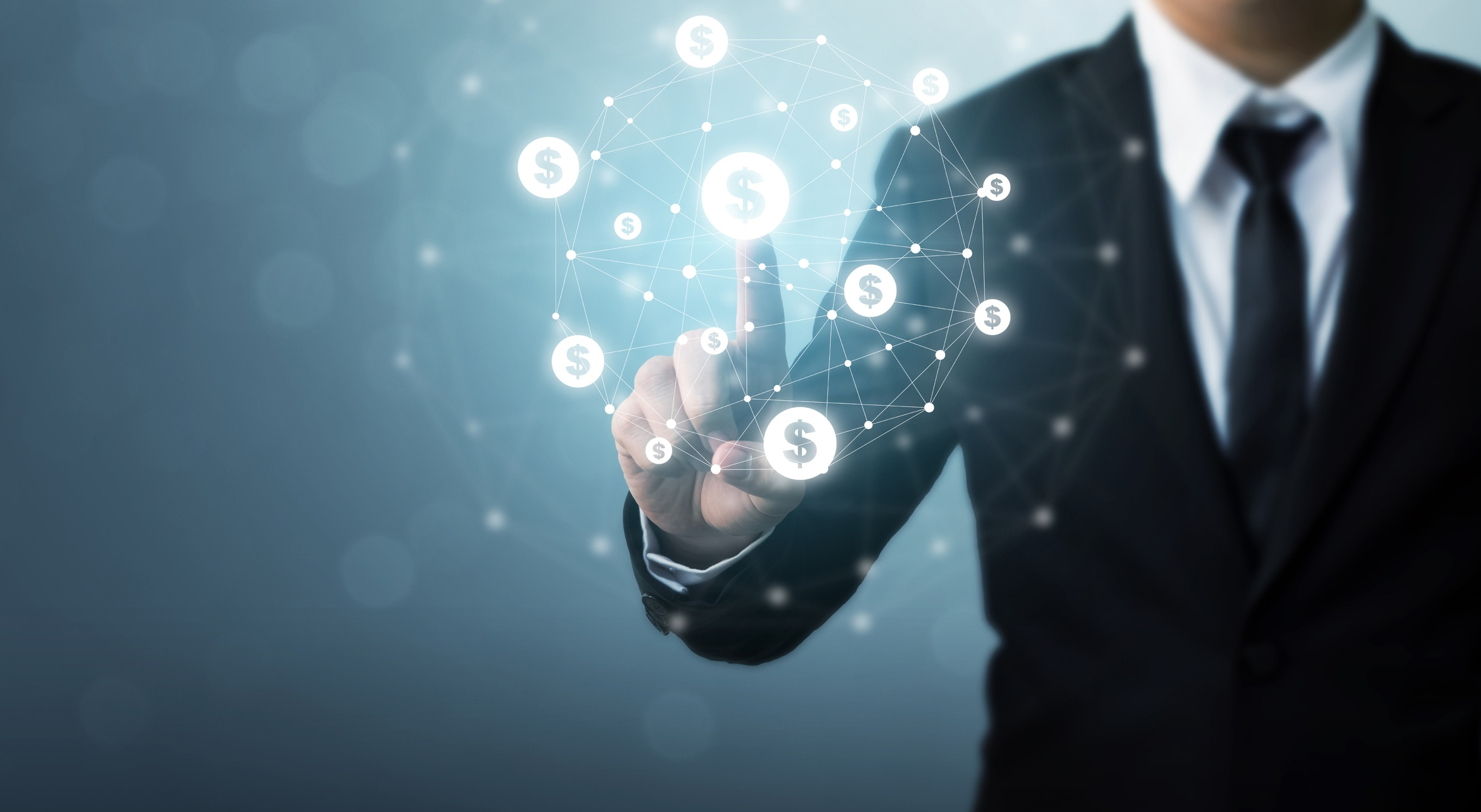 man in suit touching floating money icon