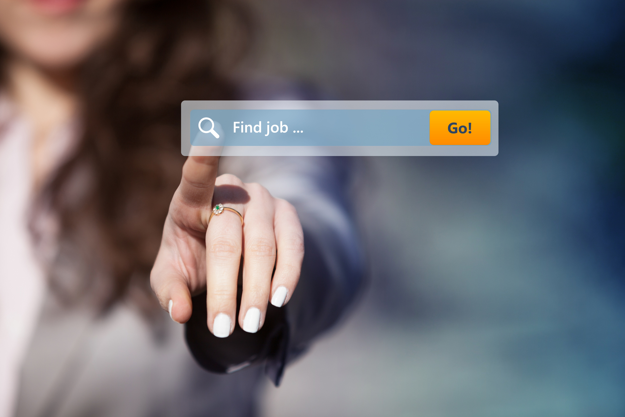 "Woman pointing at Internet search box labeled ""Find job"""