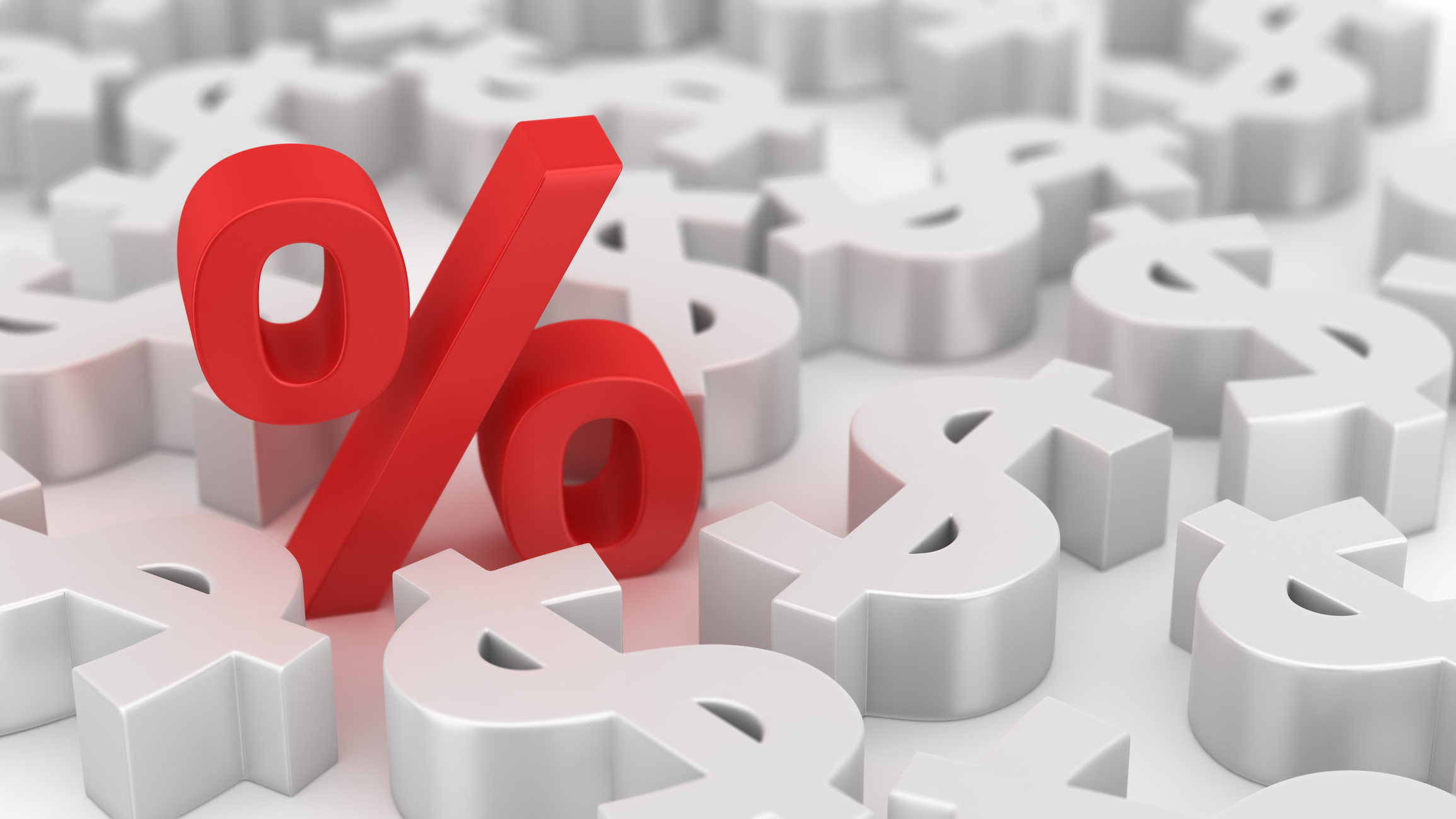 Red percent sign amid white dollar signs