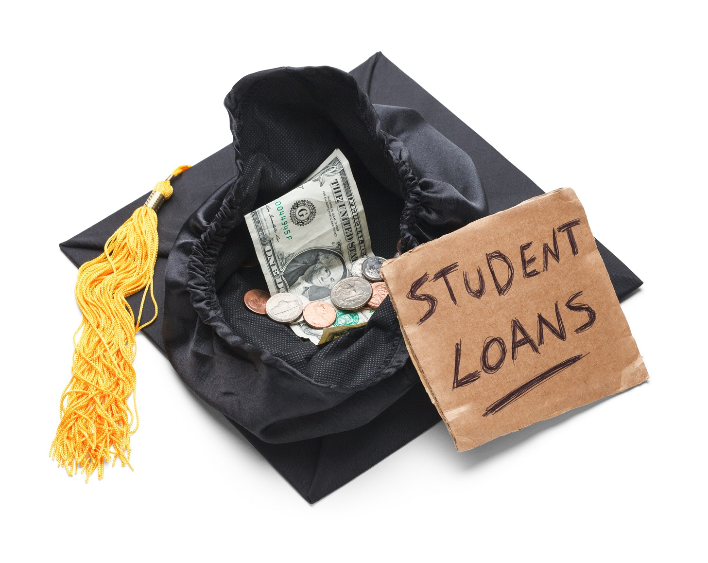 """A pile of money labelled """"Student Loans"""" sits on top of a graduation cap."""