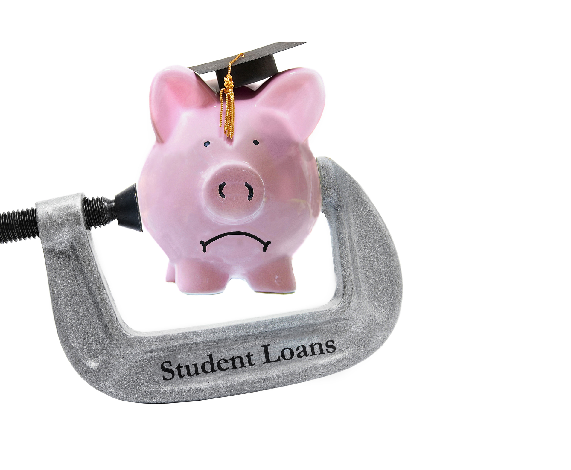 "A piggy bank wearing a graduation cap being squeezed by a vise labelled ""Student Loans""."
