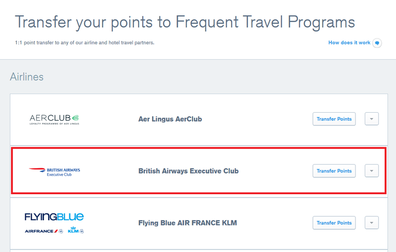 Chase website with British Airways Executive Club selected to transfer points