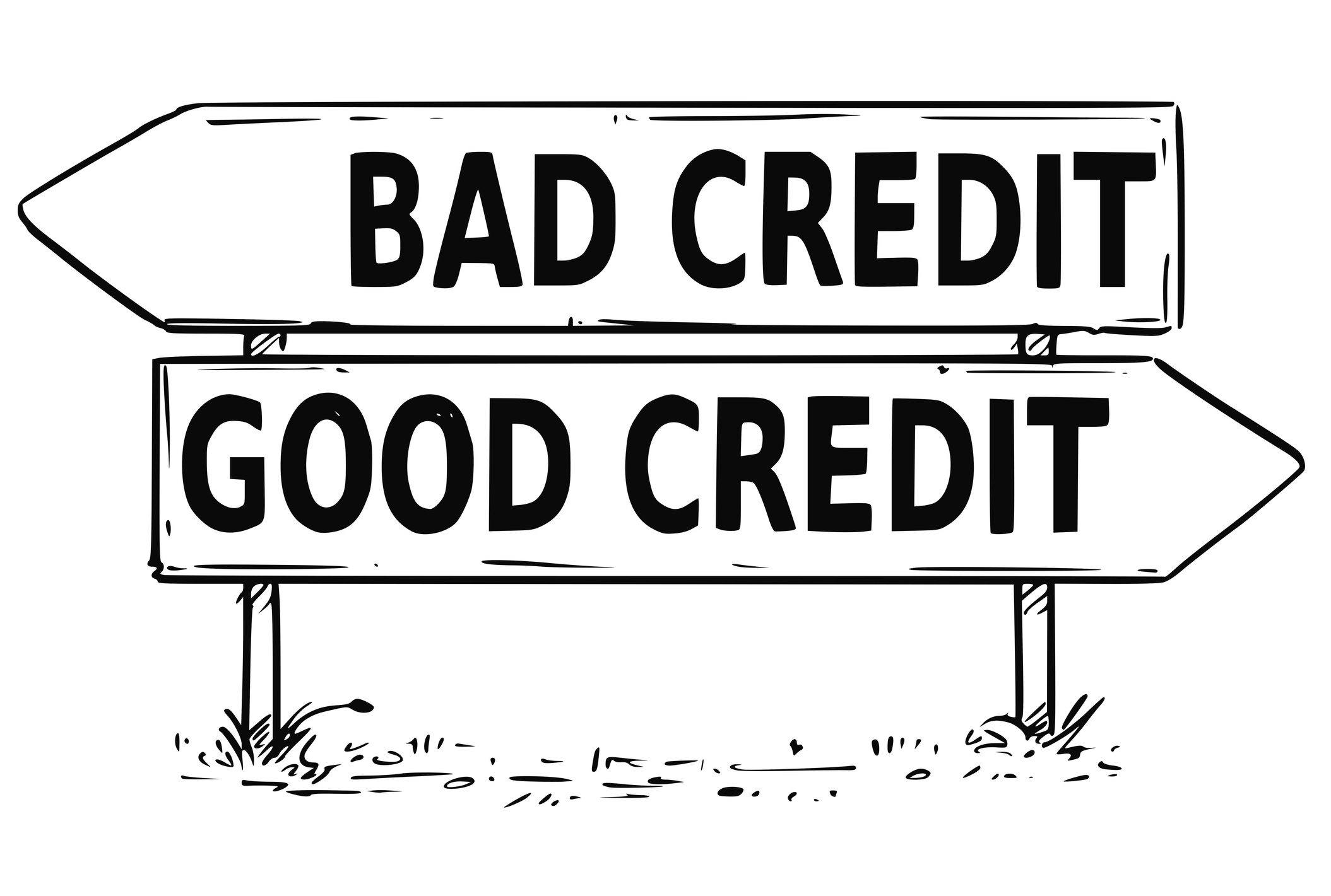 "sign pointing to left saying ""bad credit"" and sign pointing to right saying ""good credit"""