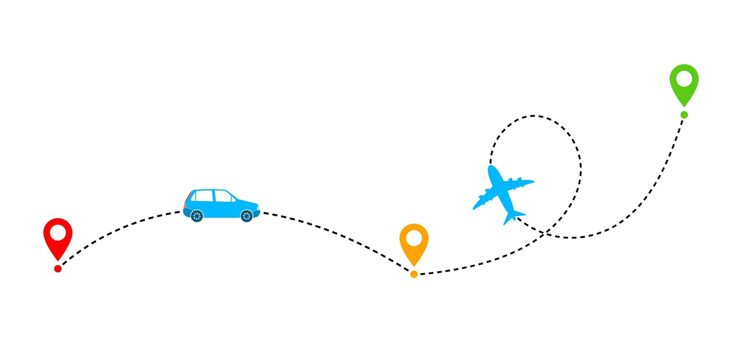 A car and plane along a dotted line showing travel.