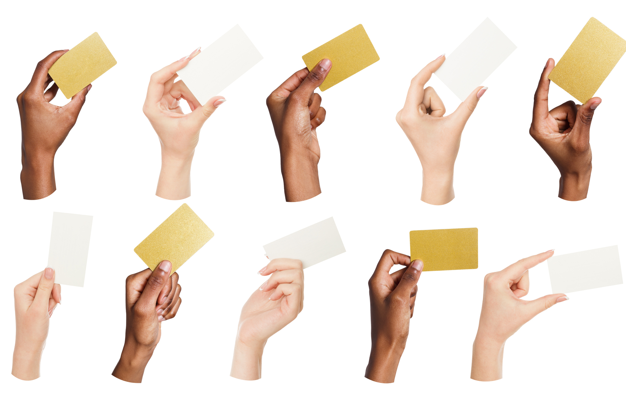 Different hands holding up various credit-card-sized nondescript note cards.