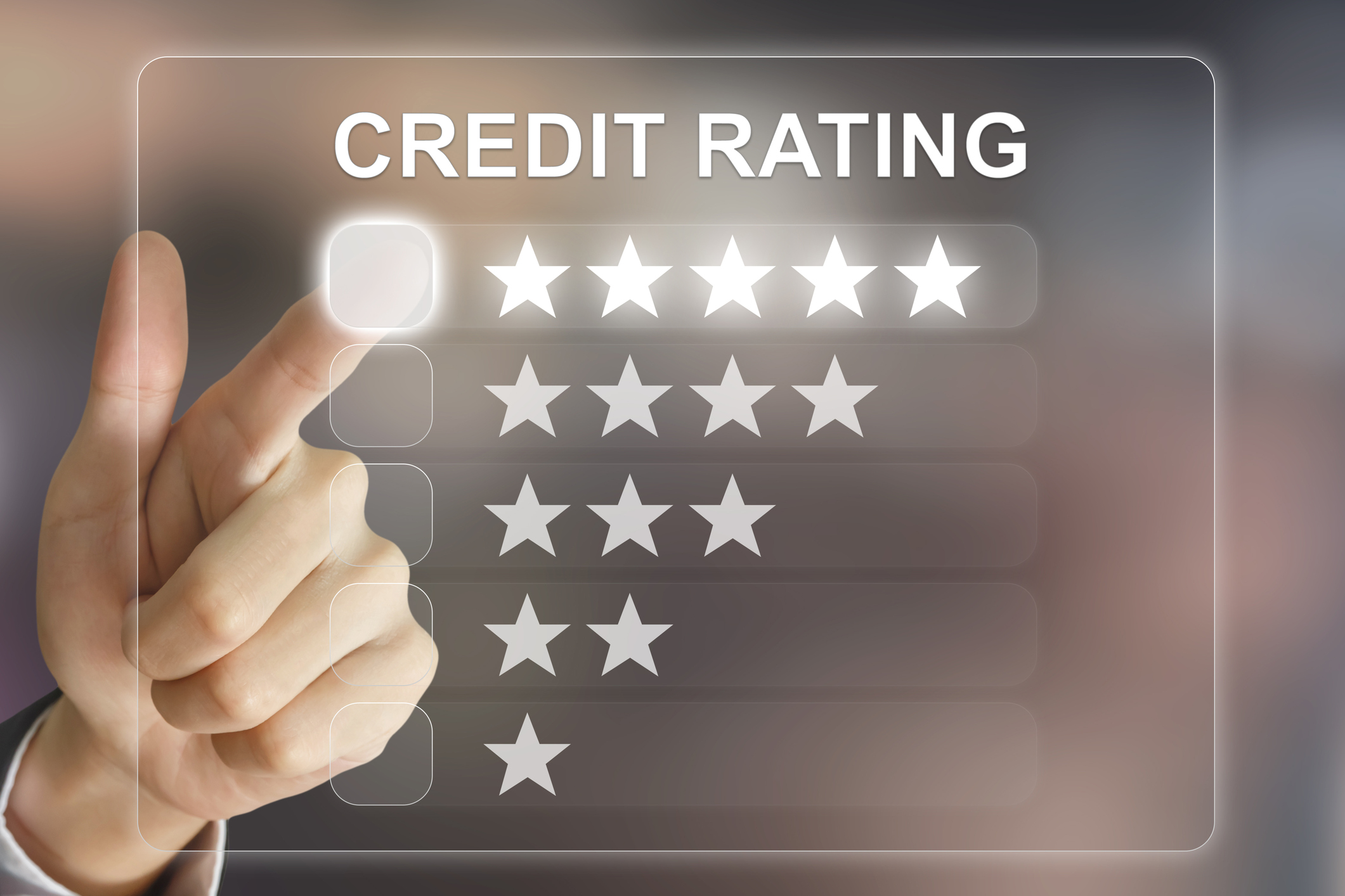 A finger pointing to a Credit Rating scoring system on a screen with one through five star options.