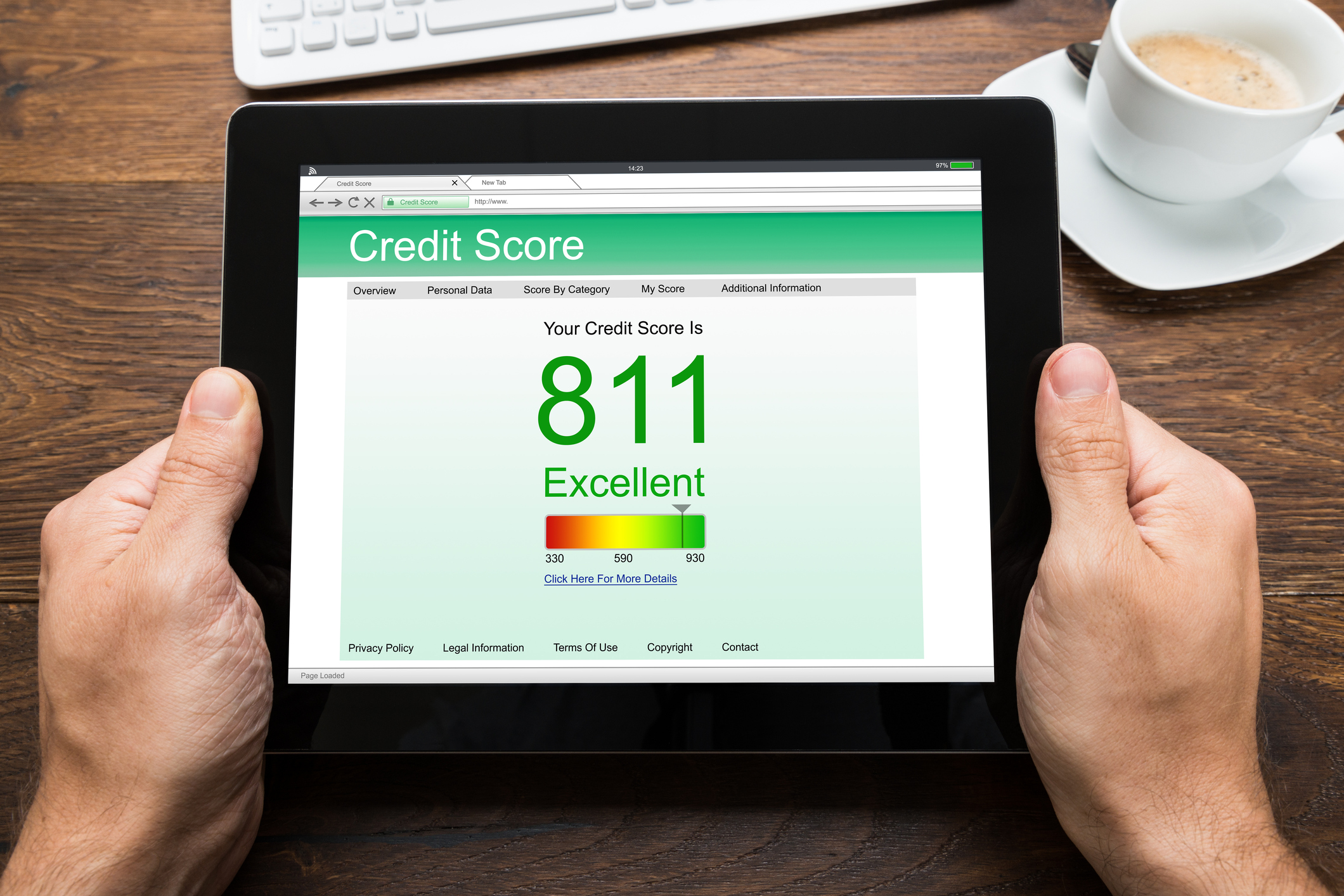 Hands holding a tablet with an 811 credit score displayed on it.