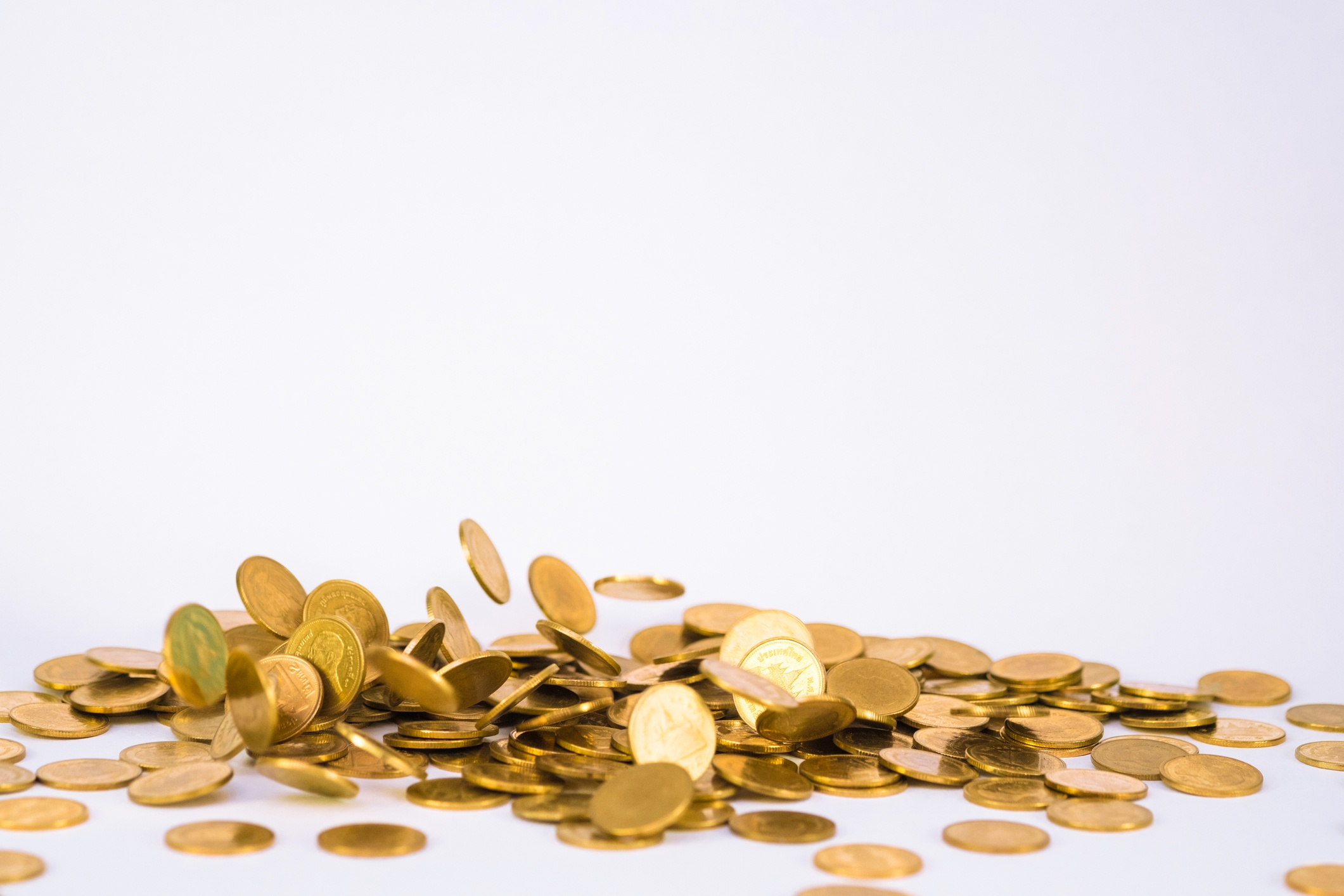 gold coins scattering