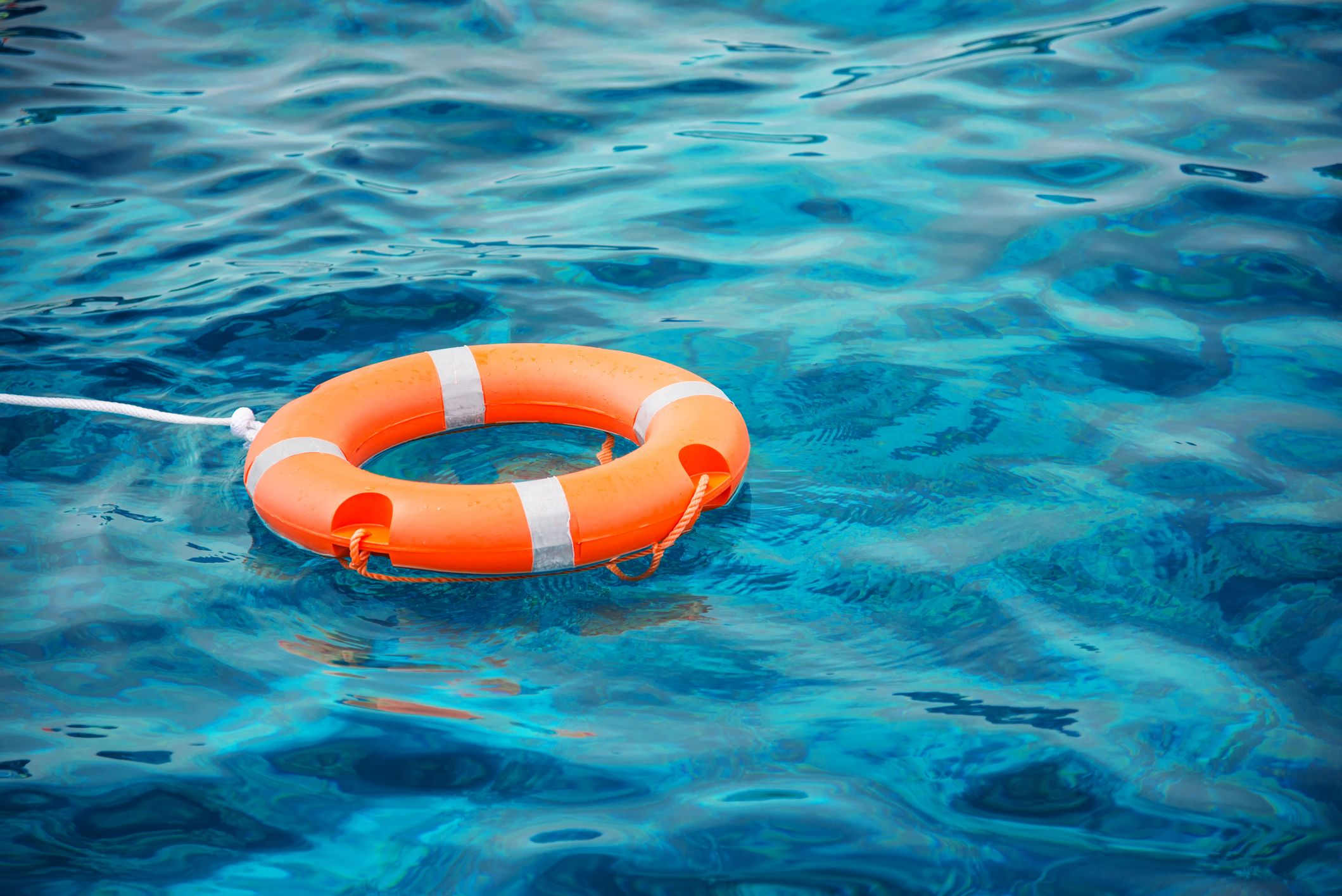 life saver floating in the ocean.