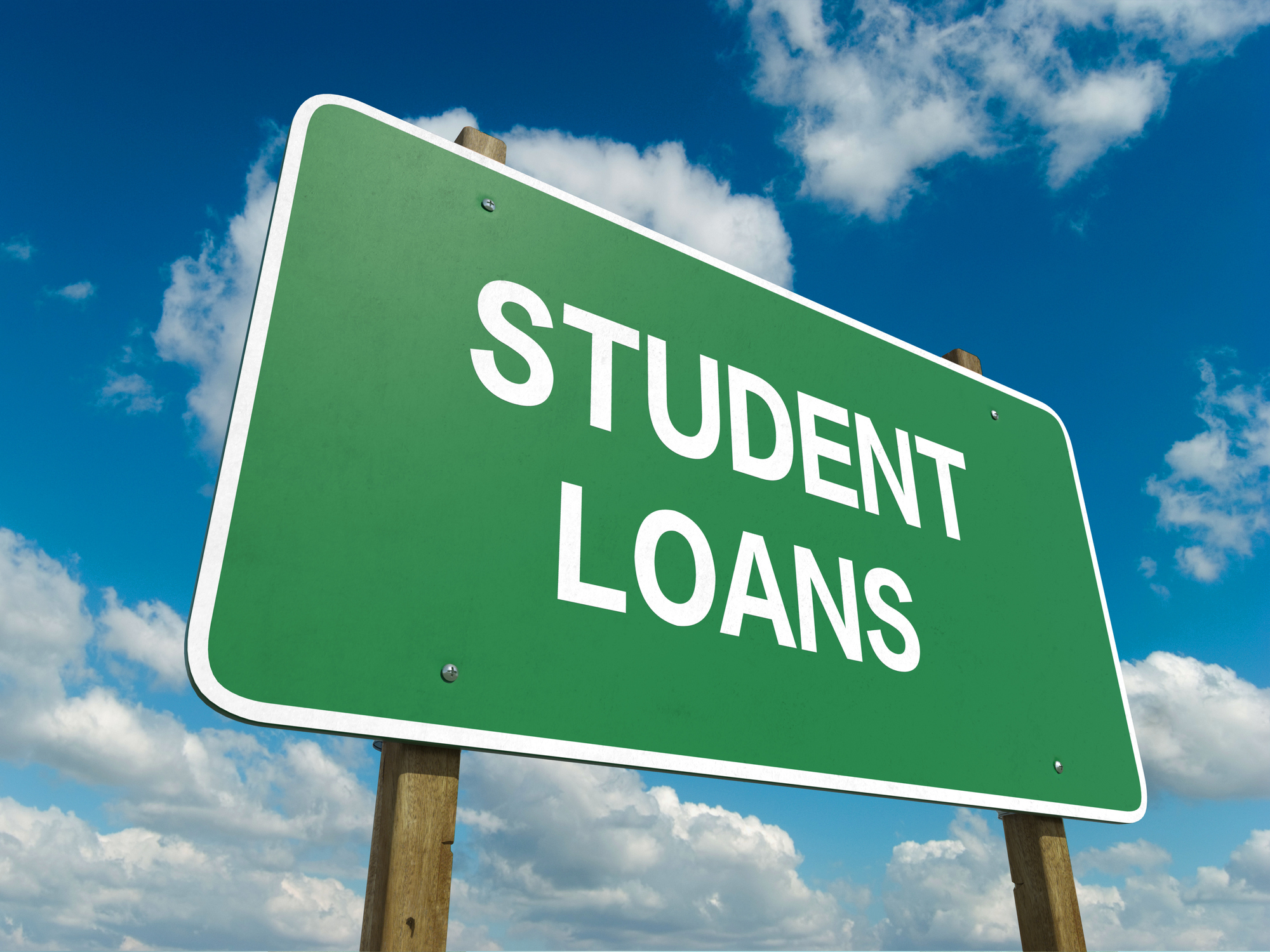 """Road sign that says """"student loans"""""""