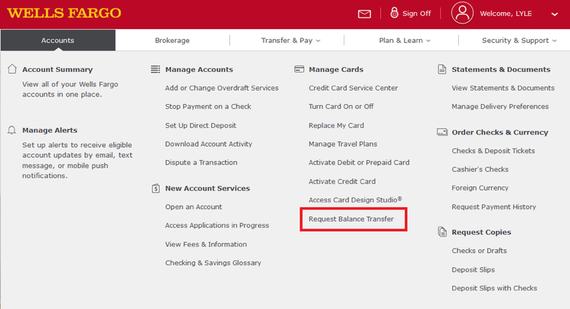 "wells fargo website with ""request balance transfer"" link highlighted"