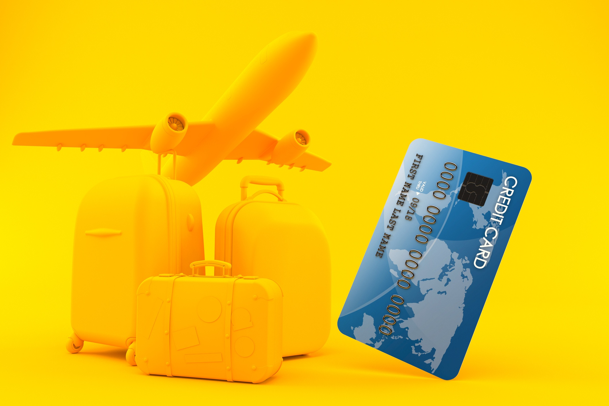 yellow airplane with blue credit card